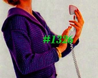 Almost FREE Vintage 1950s Large Collar Tweed Cardigan #1326 PDF Digital Knit Pattern