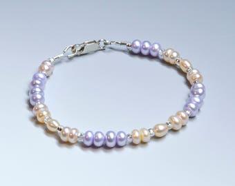 Pale Lilac and Apricot Button Pearl Bracelet, Real Pearls, Quality Pearl Bracelet, Colorful Pearls, Elegant Bracelet, June Birthstone