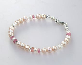 Delicate Bracelet w Natural Color Pearls, Pink & White Pearl Bracelet w Tourmaline 925 Sterling Silver, Quality Real Pearls, Wedding Jewelry
