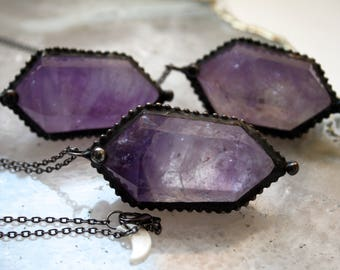 Double Terminated Amethyst Point Necklace // Amethyst Crystal Point Necklace