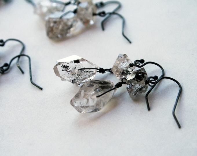 Herkimer Diamond Sterling Silver Drop Earrings // Herkimer Diamond Dangle Earrings