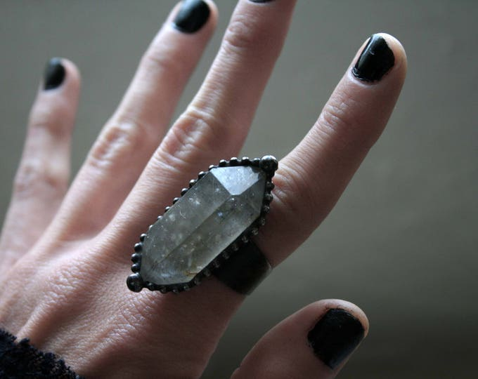 Extra Large Double Terminated Tibetan Quartz Rainbow Crystal Ring