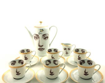 Coffee Set, Wedding Coffee Gift, Set for 6, Face Cups, Family Bridesmaids Friends Names, Housewarming Gift, Vintage Porcelain Teapot Cup