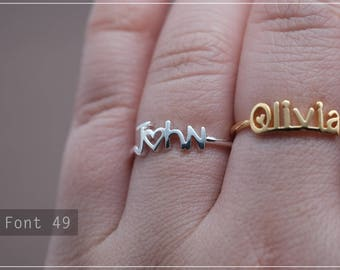 Custom Name Ring - Personalized Name Ring - Baby Name- Your name ring - New Mom Ring - Bridesmaid Jewelry-Birthday gift.#RF49