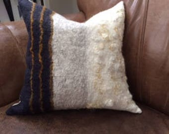 One of a Kind handfelted wool pillow