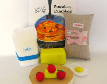 Felt Play Food, Child's Book, Pancake Felt Play Food, Fabric Book, learn To read
