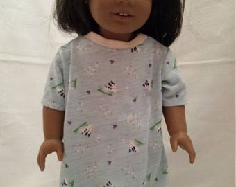 """T-shirt night gown for 18"""" dolls"""