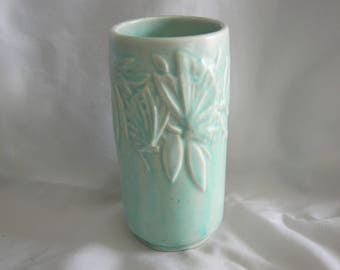 Nelson McCOY Butterfly Motif Aqua Blue Green Vase   Vintage 1940s