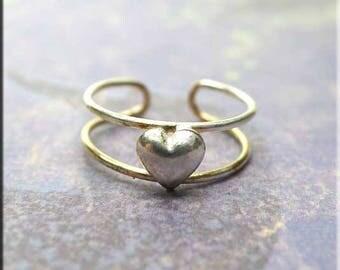 Simple Heart Toe Ring, Sterling Silver Heart Toe Ring, Heart Wire Jewelry