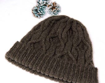 "Hand knit Hat for men/women in soft and warm pure Qiviut (Muskox underdown) with unique cable pattern ""Forrest Island"" MADE TO ORDER"