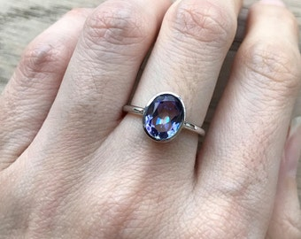Oval Mystic Topaz Ring- Stackable Blue Purple Topaz Ring- Unique Gemstone Faceted Ring- Sterling Silver Stone Ring- Jewelry Gifts for Her