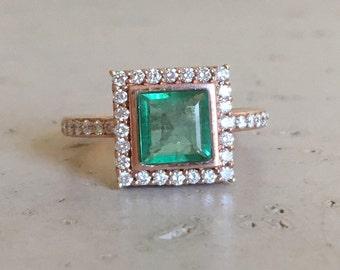 Natural Emerald Engagement Ring Rose Gold Emerald Ring Princess Cut Ring May Birthstone Ring Emerald Diamond Square Ring