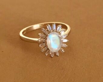 Art Deco Moonstone Engagement Ring Halo Oval Moonstone Ring Unique Moonstone Engagement Ring Floral Engagement Boho Ring