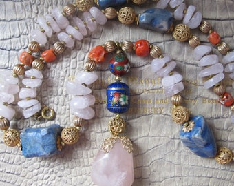 ASIAN Gemstone & Gold Tone Bead Y Necklace. CORAL, Enamel, Rose Quartz, Blue Nugget, Golden Filigree Beads. 1970's OOAK Asian Bead Necklace