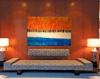 "ORiGiNAL 36 x 24 Landscape ABSTRACT""  -""FLORiDA COAST""  original Acrylic Paint on canvas   -   36"" X 24""   (# 17-6250)"