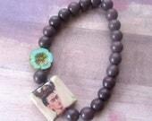 Frida Kahlo Handmade Beaded Stretch Bracelet, Czech Crystal Aqua Flower