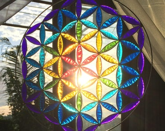 Flower of life sacred geometry mandala yoga decor room meditation altar art gifts suncatcher
