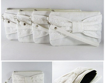 SUPER SALE - Set of 5 Ivory Lace Bow Clutches - Bridal Clutches, Bridesmaid Clutches, Bridesmaid Wristlet, Wedding Gift - Made To Order