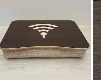 Pillow Tray / Wooden Laptop Bed Tray / iPad Table / Breakfast Serving Tray / Laptop Stand / Serving Tray WiFi Dark