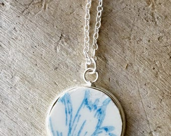 Broken China Jewelry- Broken China Necklace, Recycled Dish Jewelry, Broken China, Recycled China Pendant, Light Blue Necklace
