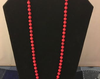 Vintage Monet Red Swirl Glass Knotted Bead Necklace 24""
