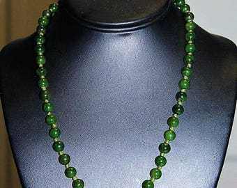 Vintage Fine Chinese Export Spinach Jade Hand Knotted Exquisite Necklace NS4