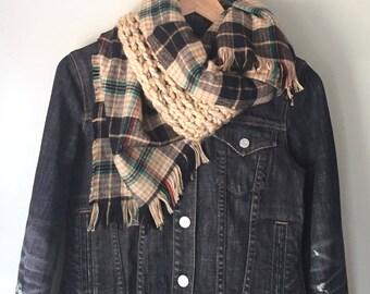 Blanket Scarf / Flannel Scarf / Crochet Scarf / Infinity Scarf / Plaid Scarf / Winter Scarf