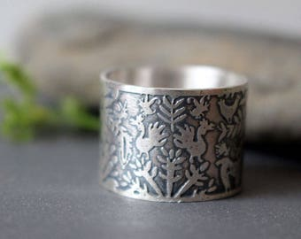 sterling silver animal ring - deer - bird - tree - botanical - landscape ring - forest - mexican ring - otomi jewelry - THE DOE'S TREE