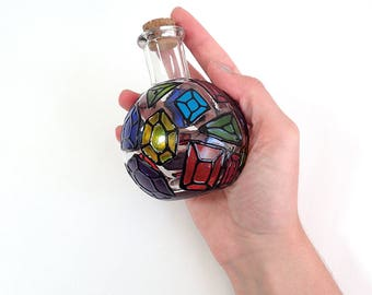 "Hand Painted Mini Glass Bottle - Gems and Jewels - Translucent & Opaque Iridescent Colored Gems with Black Outlines on a 4.25"" Glass Bottle"