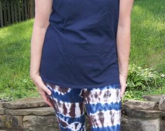 Women's Tie Dye Yoga Pants, Tie Dye Leggings, Indigo, Brown and White Tie Dye Stretch Pants, Women's Patterned Tie Dye Cotton Pants