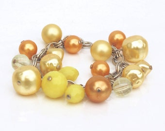 Yellow & Orange Charm Bracelet ~ Vintage Faux Pearl and Faceted Plastic Cha Cha Beads