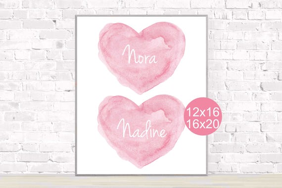 Twin Girls Poster in Pink, 12x16, 16x20