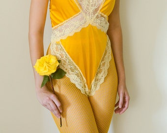 vintage 1980s hand dyed marigold yellow bodysuit