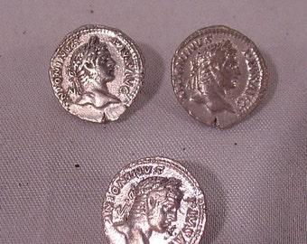 Three metal buttons Greek Roman Coin Look