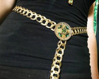 1920s Art Nouveau Enamel Cloisonne Gold Chain Boho Medieval Melt