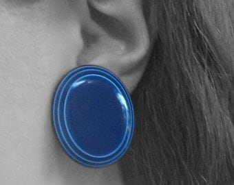 Vintage Round Blue Clip On Earrings