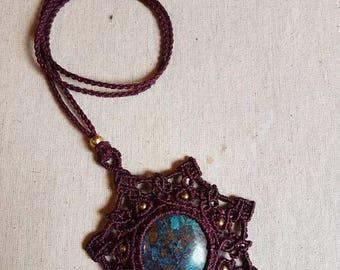 Azurite Mandala Macrame Necklace