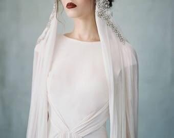 Mitternacht - Couture Kristall Kaskadierung Seide Headpiece