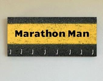 "Race Medal Holder /  Race Medal Hanger. ""Marathon Man"" Wood Wall Mounted Wood Organizer. CUSTOMIZATION Available"