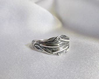 Cattail Spoon Ring Sterling Silver 1905 Floral Jewelry Friendship Rings Symbolic of Peace and Prosperity