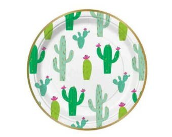 Cactus Plates - pack of 8 - birthday childrens party paper plates fiesta