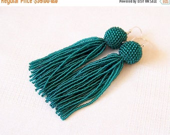 40% SALE 4 inches Shiny Emerald Beaded tassel earrings - Dangle emerald earrings - Statement Earrings - Long tassel earrings - Fringe earrin