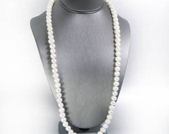 Long Pearl Necklace Large Freshwater Pearl Bridal Jewelry Wedding Necklace