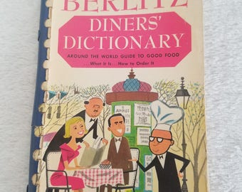 Berlitz Diners Dictionary pocket size travel book, vintage 1961, first edition
