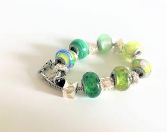 Green Pandora Style Charm Bracelet