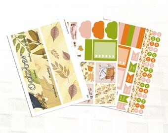 October Monthly View Hello Autumn Planner Sticker Kit, Vinyl Stickers, Leaves, Happy Planner Sized
