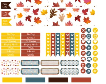 Monthly Autumn Printable Planner Stickers, 2 Pages, Digital Download for Erin Condren Life Planner