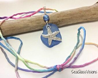 Sea Glass Pendant, Periwinkle Blue Sea Glass, Beach Glass Jewelry, Boho, Starfish Charm, Hand Sewn & Dyed Silk Cord