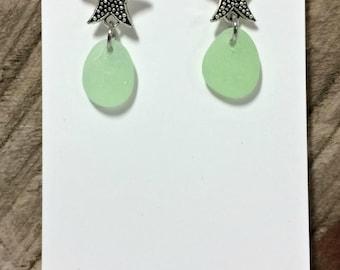 Sea Glass Earrings, Sterling Silver Star Fish Studs, Light Green Sea Glass, Star Fish Jewelry, Beach Glass Earrings, Beachy Jewelry