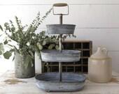 Reclaimed Galvanized Zinc Tiered Tray, Wedding Decor, Decorative Storage, Three Layered Tray, Farmhouse, Cottage